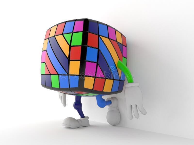 Χαρακτήρας γρίφων παιχνιδιών που κλίνει στον τοίχο στο άσπρο υπόβαθρο απεικόνιση αποθεμάτων