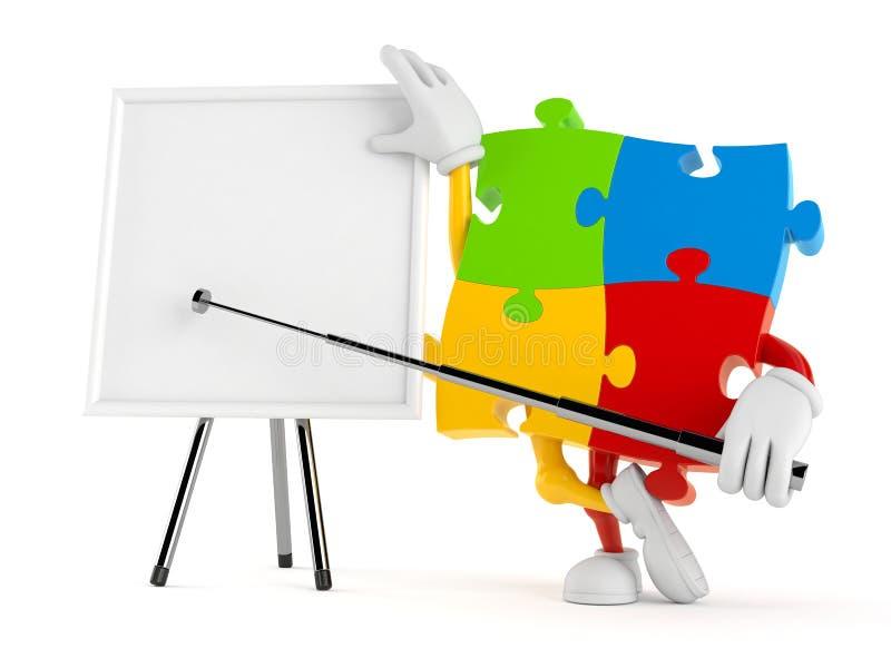 Χαρακτήρας γρίφων τορνευτικών πριονιών με το κενό whiteboard ελεύθερη απεικόνιση δικαιώματος
