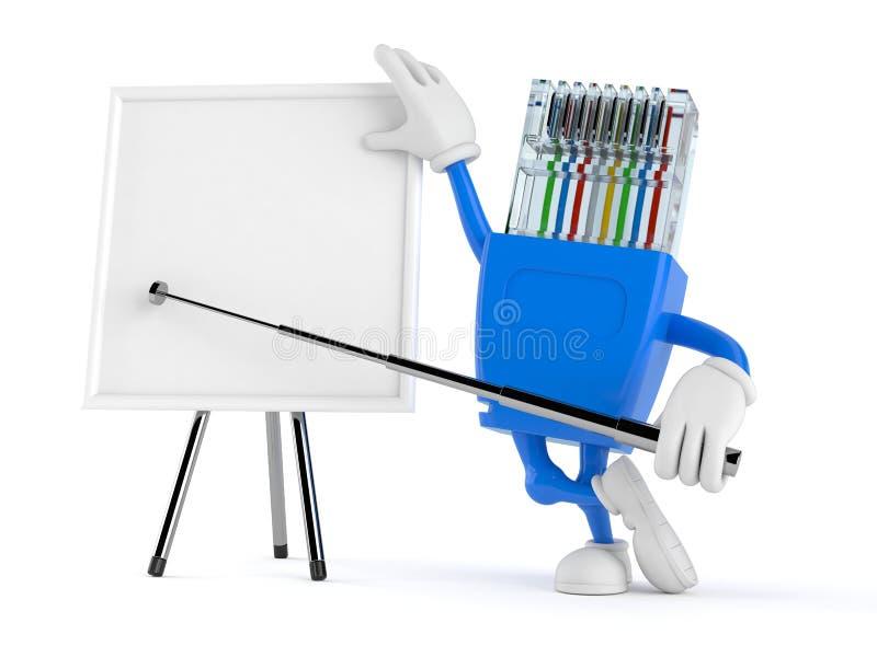 Χαρακτήρας δικτύων με το κενό whiteboard διανυσματική απεικόνιση