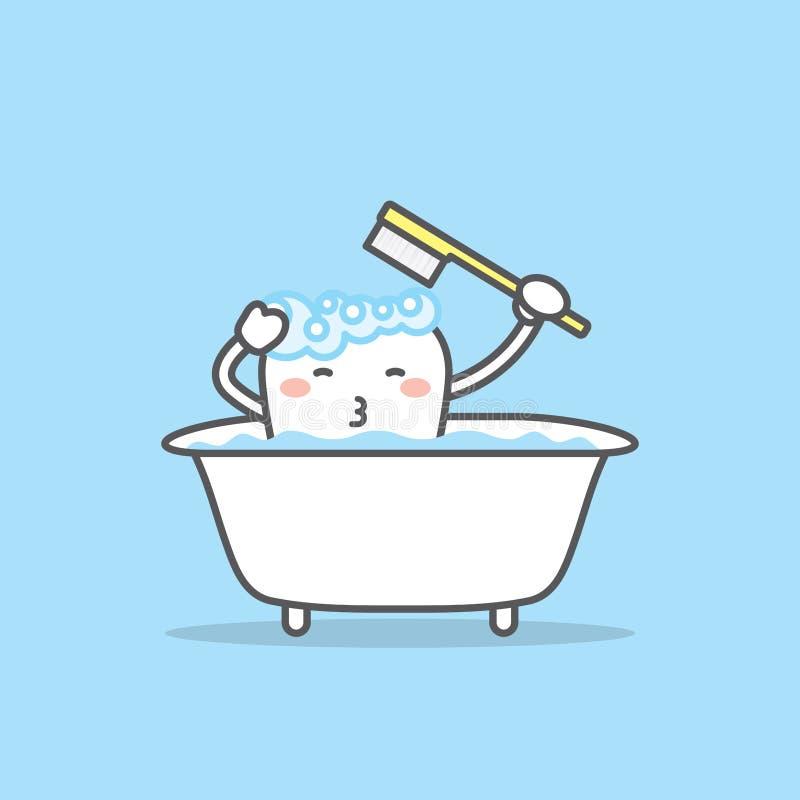 Χαρακτήρας δοντιών που βουρτσίζει στο διάνυσμα απεικόνισης μπανιέρων στο μπλε απεικόνιση αποθεμάτων