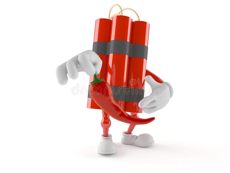 Χαρακτήρας δυναμίτη που κρατά το καυτό πιπέρι ελεύθερη απεικόνιση δικαιώματος