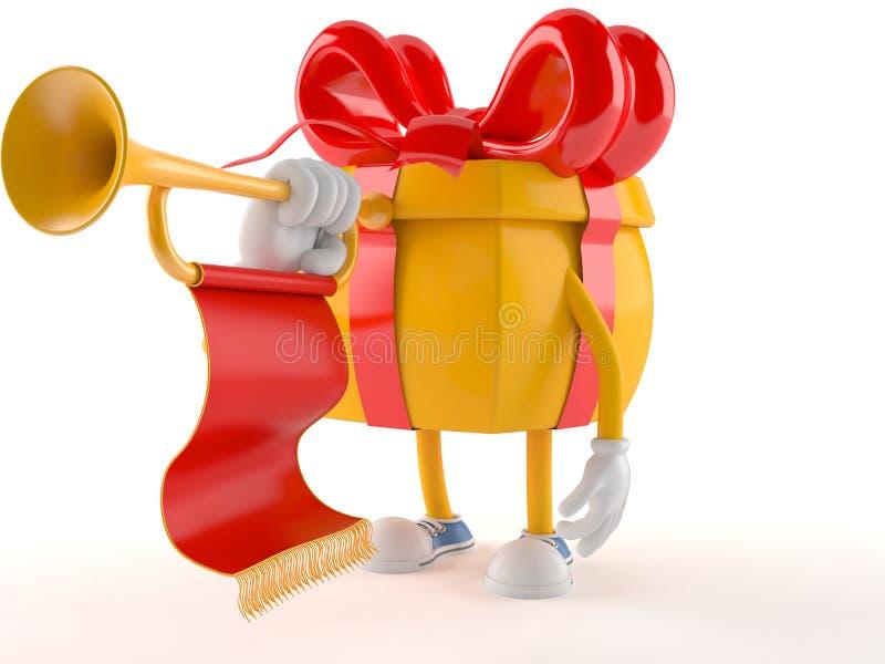 Χαρακτήρας δώρων που παίζει τη σάλπιγγα διανυσματική απεικόνιση