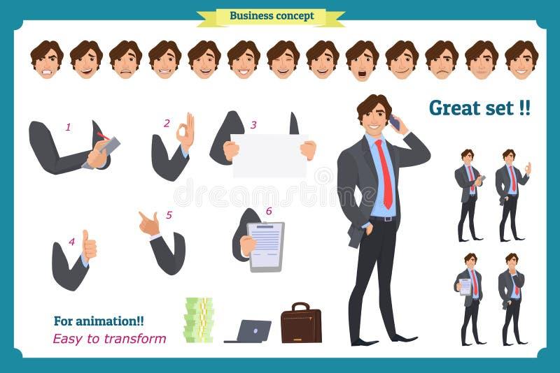 Χαρακτήρας επιχειρηματιών κοστούμι επιχειρησιακών ελεύθερη απεικόνιση δικαιώματος