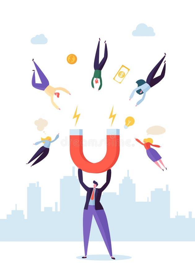 Χαρακτήρας επιχειρηματιών με το μεγάλο μαγνήτη που προσελκύει τους νέες πελάτες, τις πιστώσεις και τις ιδέες Έννοια επιχειρησιακο ελεύθερη απεικόνιση δικαιώματος