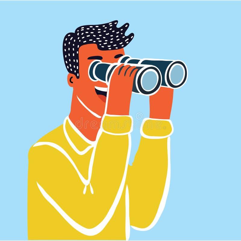 Χαρακτήρας επιχειρηματιών που κοιτάζει μέσω του τηλεσκοπίου Επιχειρηματίας που φαίνεται τηλεσκόπιο Διανυσματική έννοια διανυσματική απεικόνιση