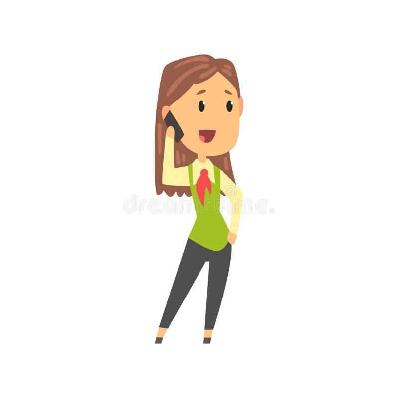 Χαρακτήρας επιχειρηματιών στην επίσημη ένδυση που μιλά στο κινητό τηλέφωνο, επιχειρησιακό πρόσωπο στη διανυσματική απεικόνιση κιν ελεύθερη απεικόνιση δικαιώματος