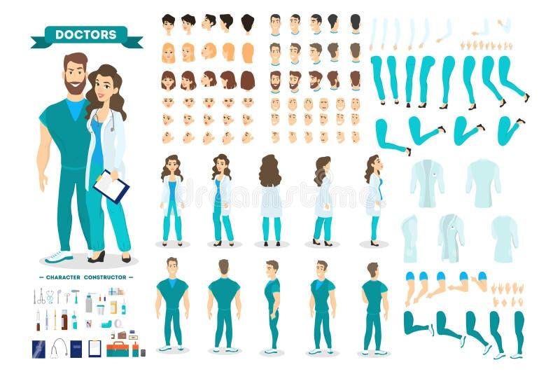 Χαρακτήρας ζευγών γιατρών - που τίθεται για τη ζωτικότητα ελεύθερη απεικόνιση δικαιώματος