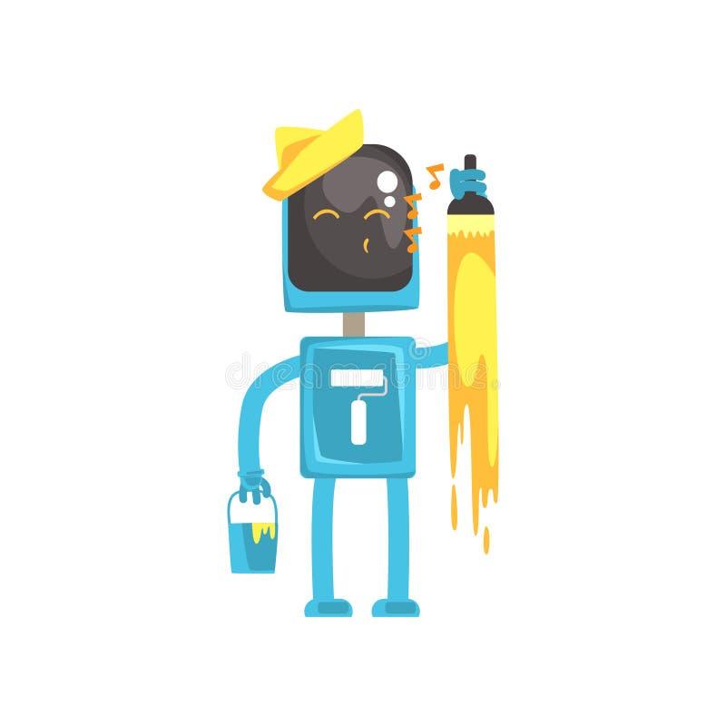 Χαρακτήρας ζωγράφων ρομπότ, αρρενωπός με τη βούρτσα χρωμάτων και τον κάδο στη διανυσματική απεικόνιση κινούμενων σχεδίων χεριών τ απεικόνιση αποθεμάτων