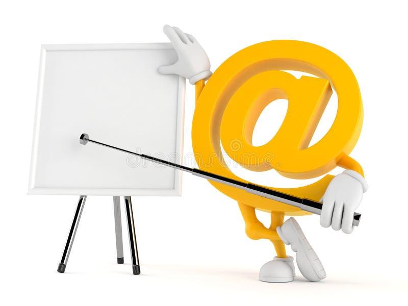 Χαρακτήρας ηλεκτρονικού ταχυδρομείου με το κενό whiteboard ελεύθερη απεικόνιση δικαιώματος