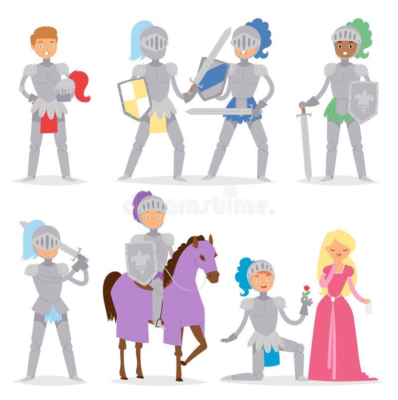 Χαρακτήρας ηρώων κινούμενων σχεδίων ιπποτών με το γενναίο μεσαιωνικό διάνυσμα στρατιωτών κοστουμιών ανθρώπων αλόγων και πολεμιστώ διανυσματική απεικόνιση