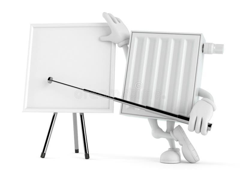Χαρακτήρας θερμαντικών σωμάτων με το κενό whiteboard ελεύθερη απεικόνιση δικαιώματος