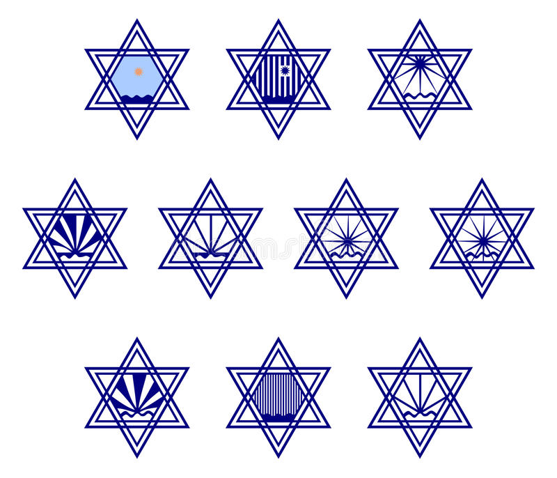 Χαρακτήρας - καθορισμένα περιέχοντα σύμβολα hexagram στην επιφάνεια του νερού και του ήλιου απεικόνιση αποθεμάτων