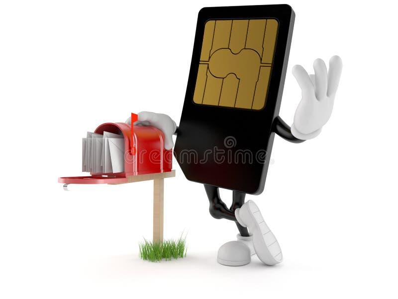 Χαρακτήρας καρτών SIM με την ταχυδρομική θυρίδα διανυσματική απεικόνιση