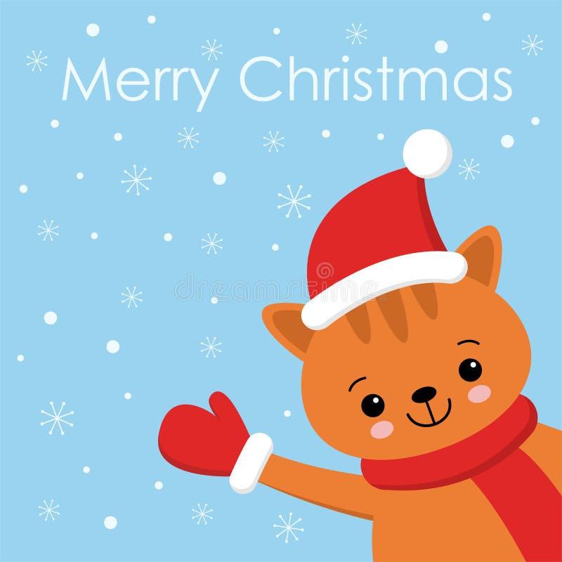 Χαρακτήρας κινουμένων σχεδίων γατακιών γατών πιπεροριζών Χριστουγέννων Ένα χαριτωμένο γατάκι που στέκεται στο μπλε υπόβαθρο Επίπε ελεύθερη απεικόνιση δικαιώματος