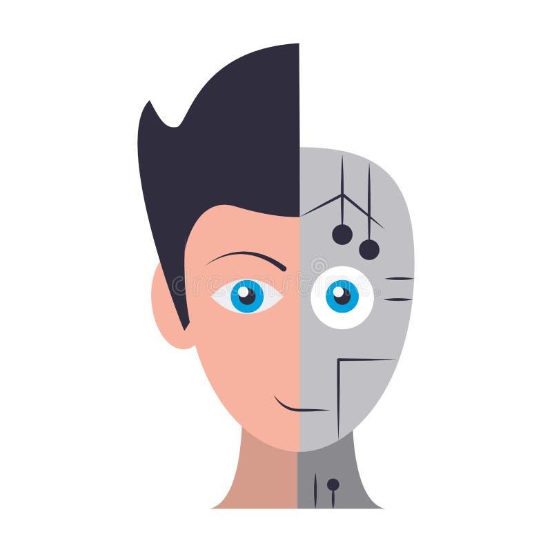 Χαρακτήρας κινουμένων σχεδίων ειδώλων Humanoid cyborg απεικόνιση αποθεμάτων