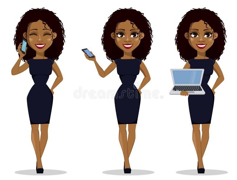 Χαρακτήρας κινουμένων σχεδίων επιχειρησιακών γυναικών αφροαμερικάνων, σύνολο ελεύθερη απεικόνιση δικαιώματος