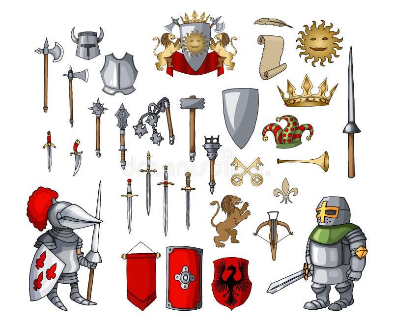 Χαρακτήρας κινουμένων σχεδίων ιπποτών με τα διαφορετικά στοιχεία όπλων παιχνιδιών μεσαιωνικά καθορισμένα διανυσματική απεικόνιση