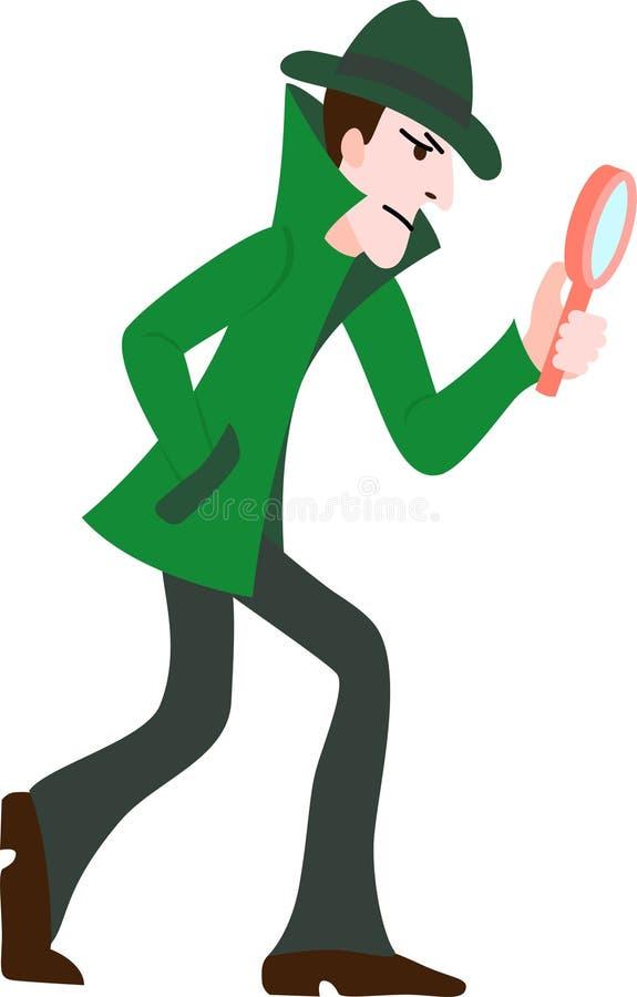 Χαρακτήρας κινουμένων σχεδίων Ντετέκτιβ κοιτάξτε μέσα από μεγεθυντικό φακό και ψάξτε για στοιχεία Απεικόνιση διανυσματικού χρώματ απεικόνιση αποθεμάτων