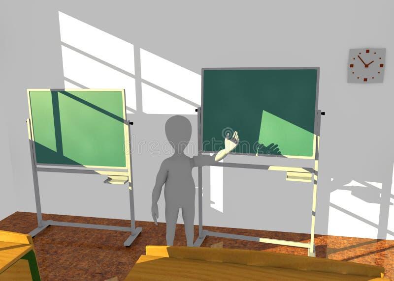 Χαρακτήρας κινουμένων σχεδίων στη διδασκαλία τάξεων κάτι ελεύθερη απεικόνιση δικαιώματος