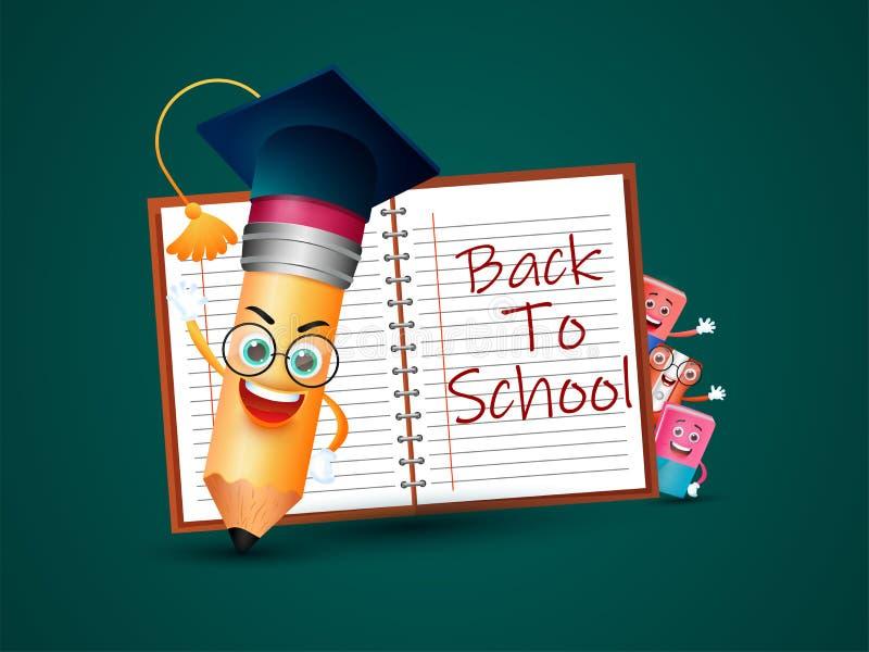 Χαρακτήρας κινουμένων σχεδίων των στοιχείων εκπαίδευσης με το mortarboard και πίσω στο σχολικό κείμενο στο σημειωματάριο Μπορέστε ελεύθερη απεικόνιση δικαιώματος