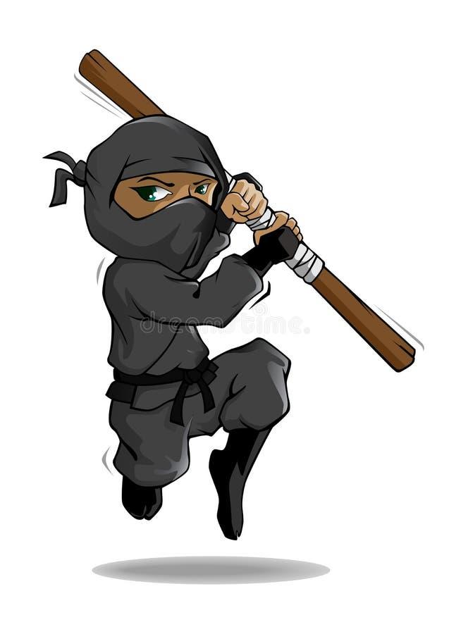 Χαρακτήρας κινουμένων σχεδίων Ninja Διανυσματική απεικόνιση μασκότ απεικόνιση αποθεμάτων