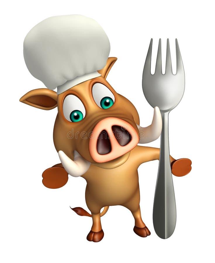 Χαρακτήρας κινουμένων σχεδίων κάπρων με το πιάτο και το κουτάλι γευμάτων διανυσματική απεικόνιση