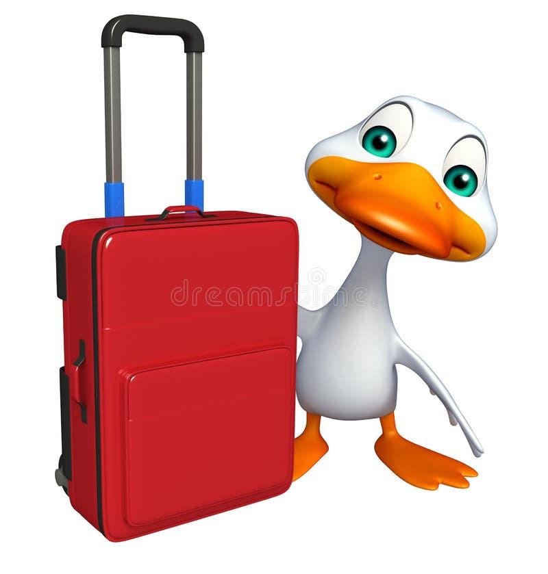 Χαρακτήρας κινουμένων σχεδίων παπιών διασκέδασης με την τσάντα ταξιδιού διανυσματική απεικόνιση