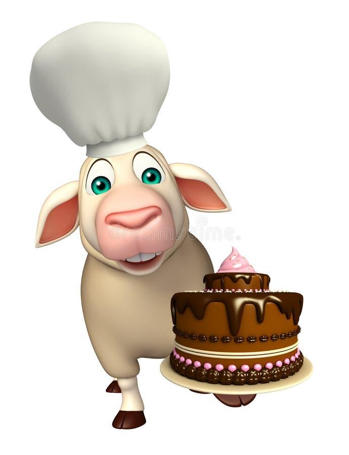 Χαρακτήρας κινουμένων σχεδίων προβάτων με το καπέλο και το κέικ αρχιμαγείρων διανυσματική απεικόνιση