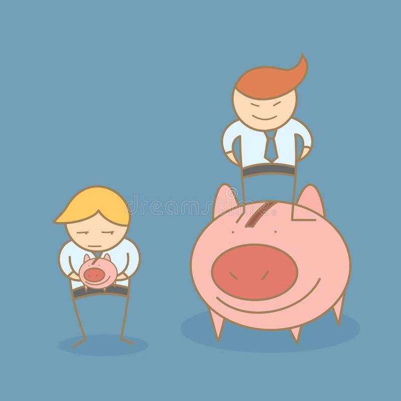Χαρακτήρας κινουμένων σχεδίων πλούσιος και φτωχός απεικόνιση αποθεμάτων