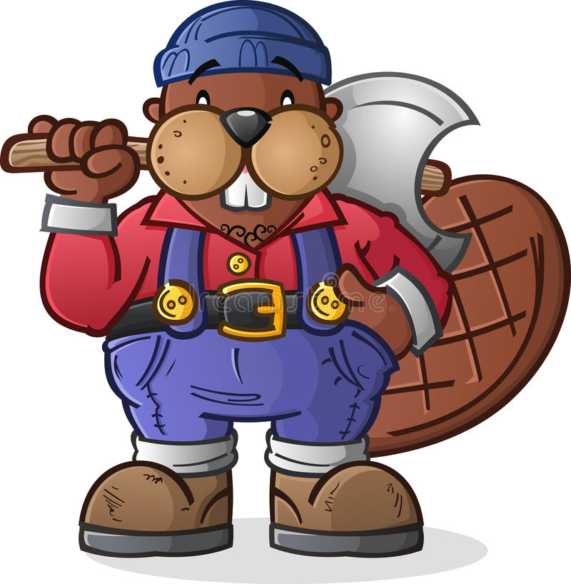 Χαρακτήρας κινουμένων σχεδίων υλοτόμων καστόρων διανυσματική απεικόνιση