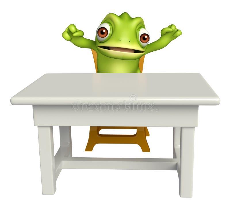 Χαρακτήρας κινουμένων σχεδίων χαμαιλεόντων με τον πίνακα και την καρέκλα διανυσματική απεικόνιση