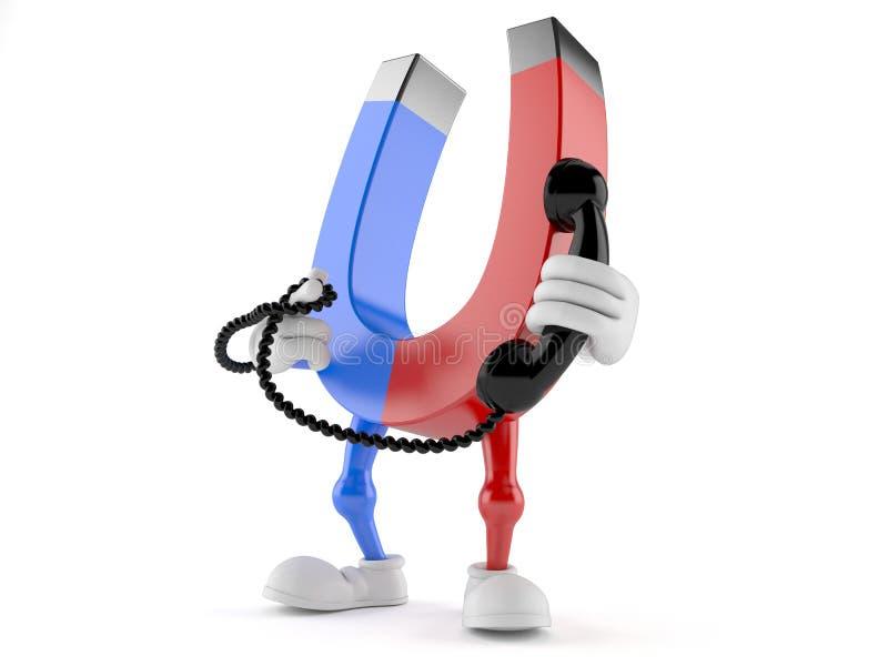 Χαρακτήρας μαγνητών που κρατά ένα τηλεφωνικό μικροτηλέφωνο απεικόνιση αποθεμάτων