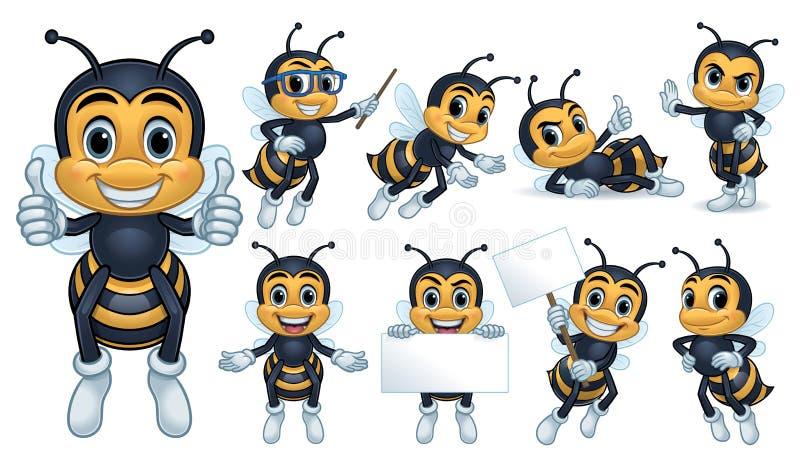 Χαρακτήρας μασκότ μελισσών διανυσματική απεικόνιση
