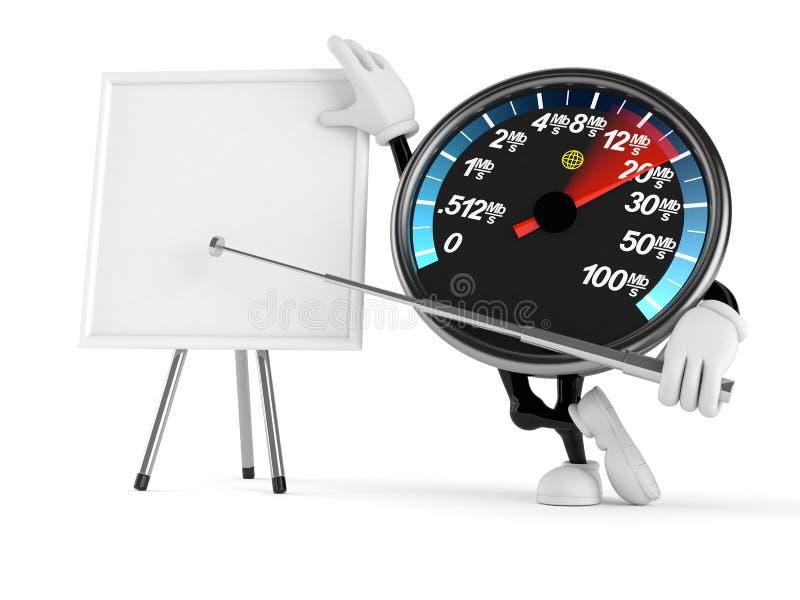Χαρακτήρας μετρητών ταχύτητας δικτύων με το κενό whiteboard διανυσματική απεικόνιση