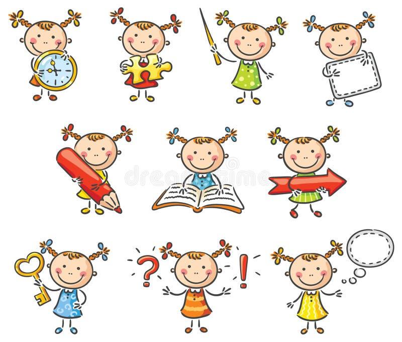 Χαρακτήρας μικρών κοριτσιών ελεύθερη απεικόνιση δικαιώματος