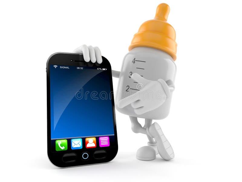 Χαρακτήρας μπουκαλιών μωρών με το έξυπνο τηλέφωνο διανυσματική απεικόνιση