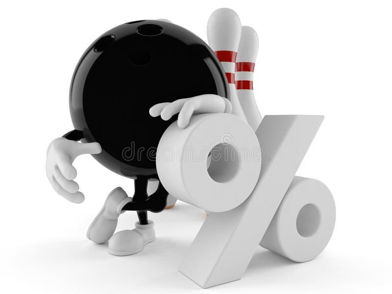 Χαρακτήρας μπόουλινγκ με το σύμβολο τοις εκατό απεικόνιση αποθεμάτων