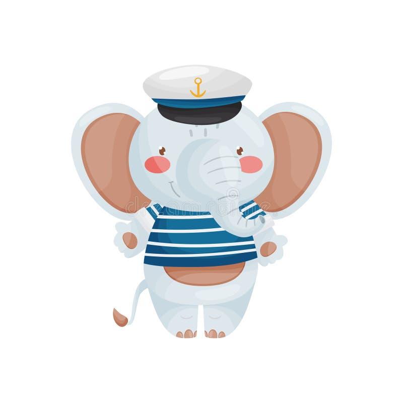 Χαρακτήρας ναυτικών ελεφάντων στο ύφος κινούμενων σχεδίων, σε μια μπλε άσπρες φανέλλα και μια ΚΑΠ διανυσματική απεικόνιση