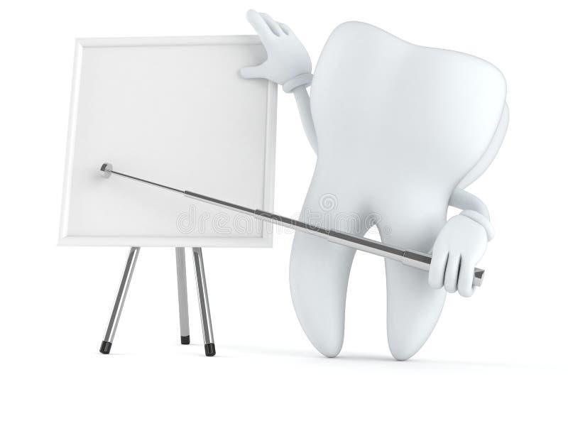 Χαρακτήρας δοντιών με το κενό whiteboard διανυσματική απεικόνιση