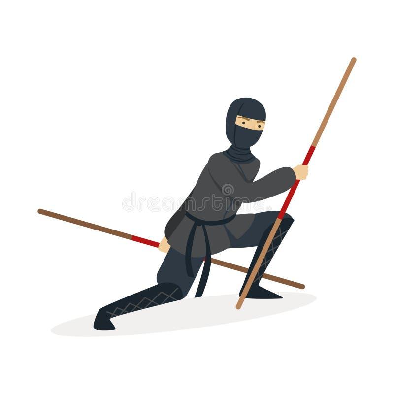 Χαρακτήρας δολοφόνων Ninja σε μια πλήρη μαύρη πάλη κοστουμιών με τα ξίφη κατάρτισης μπαμπού στα χέρια του, ιαπωνική πολεμική τέχν διανυσματική απεικόνιση