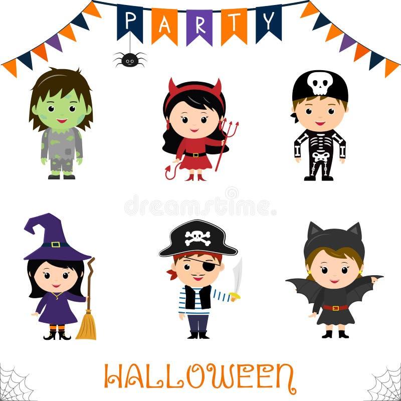 Χαρακτήρας παιδιών κομμάτων αποκριών - σύνολο Παιδιά κοστούμια στα ζωηρόχρωμα αποκριών zombie, διάβολος, σκελετός, μάγισσα, σκούπ ελεύθερη απεικόνιση δικαιώματος