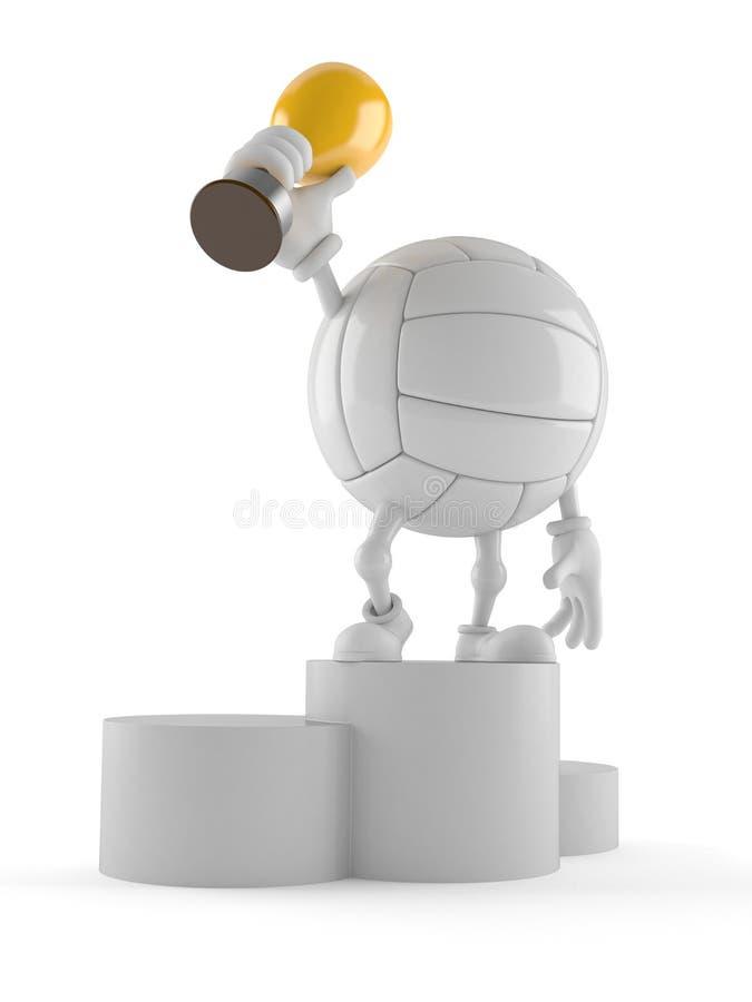 Χαρακτήρας πετοσφαίρισης που κρατά το χρυσό τρόπαιο απεικόνιση αποθεμάτων