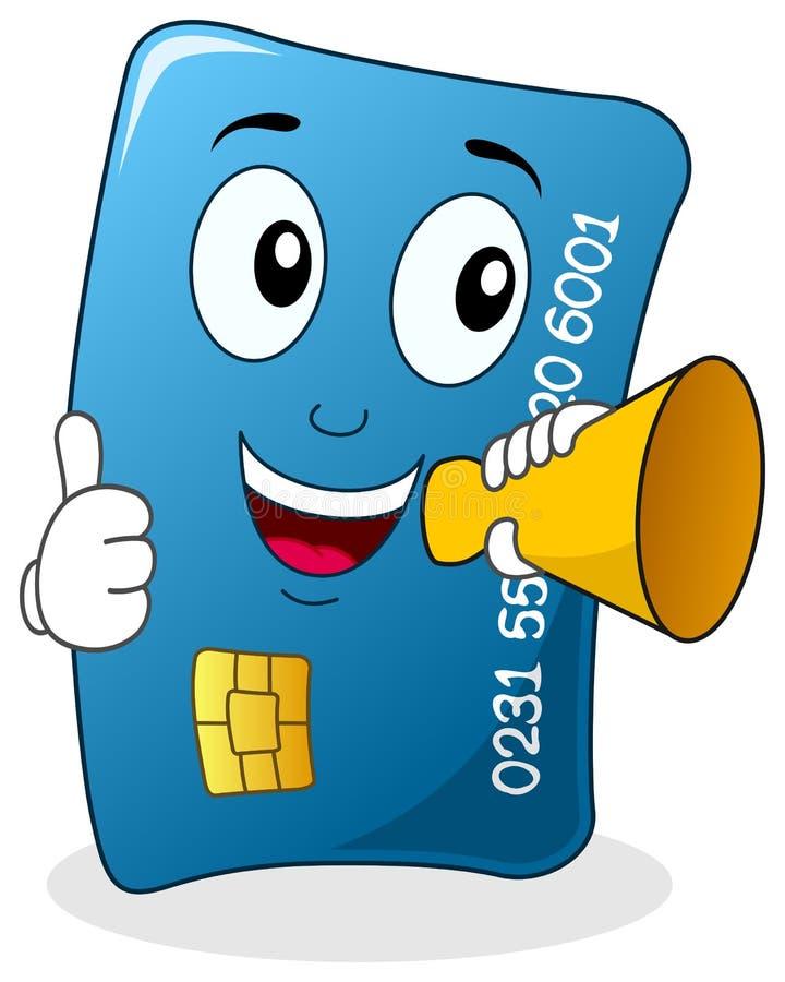 Χαρακτήρας πιστωτικών καρτών με Megaphone ελεύθερη απεικόνιση δικαιώματος