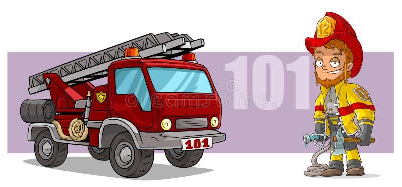 Χαρακτήρας πυροσβεστών κινούμενων σχεδίων και κόκκινο πυροσβεστικό όχημα διανυσματική απεικόνιση