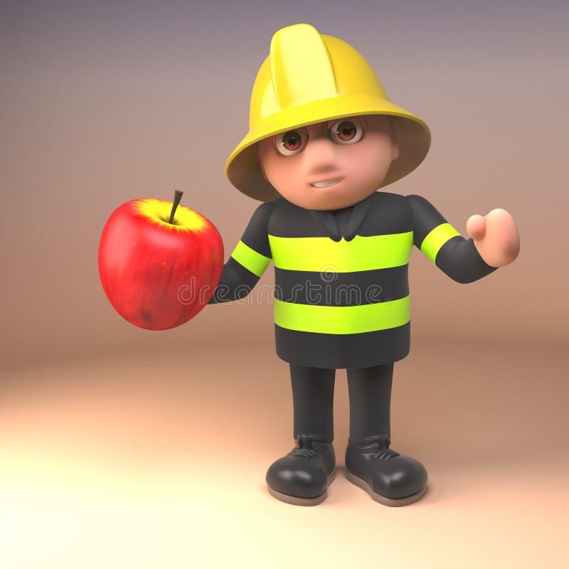 Χαρακτήρας πυροσβεστών πυροσβεστών κινούμενων σχεδίων στον υψηλό ιματισμό διαφάνειας που κρατά ένα μήλο, τρισδιάστατη απεικόνιση απεικόνιση αποθεμάτων