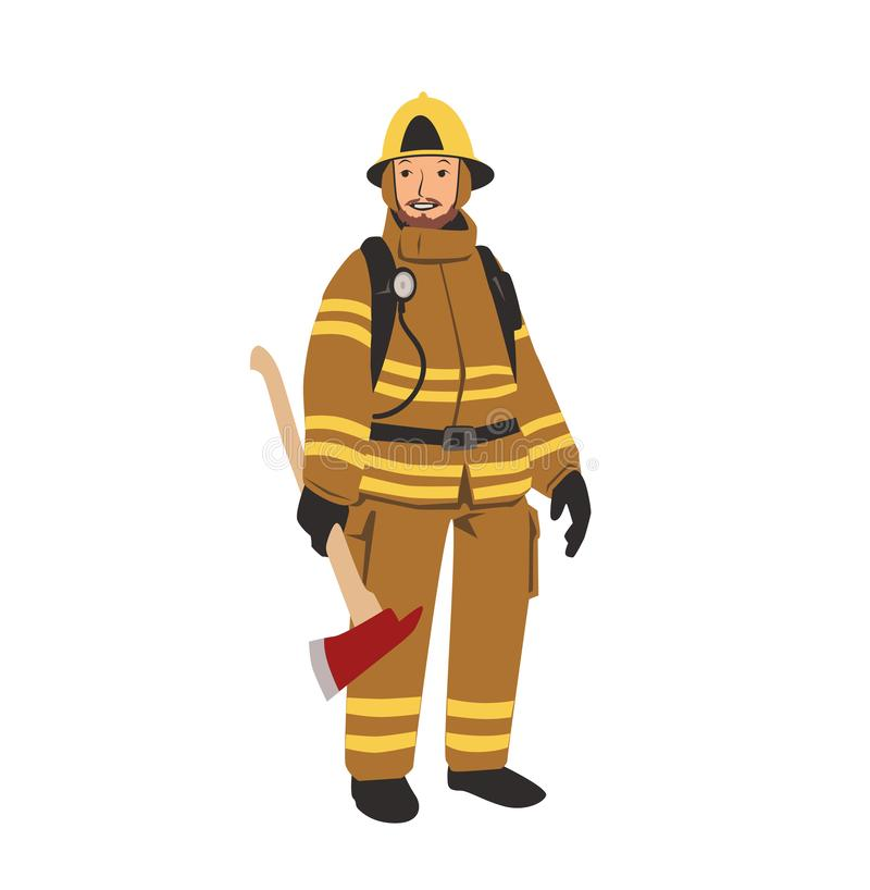 Χαρακτήρας πυροσβεστών με ένα τσεκούρι Επίπεδη διανυσματική απεικόνιση η ανασκόπηση απομόνωσε το λευκό απεικόνιση αποθεμάτων