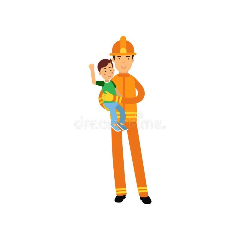 Χαρακτήρας πυροσβεστών στο ομοιόμορφο και προστατευτικό κράνος, που κρατά το αγόρι παιδιών στα όπλα του διανυσματική απεικόνιση