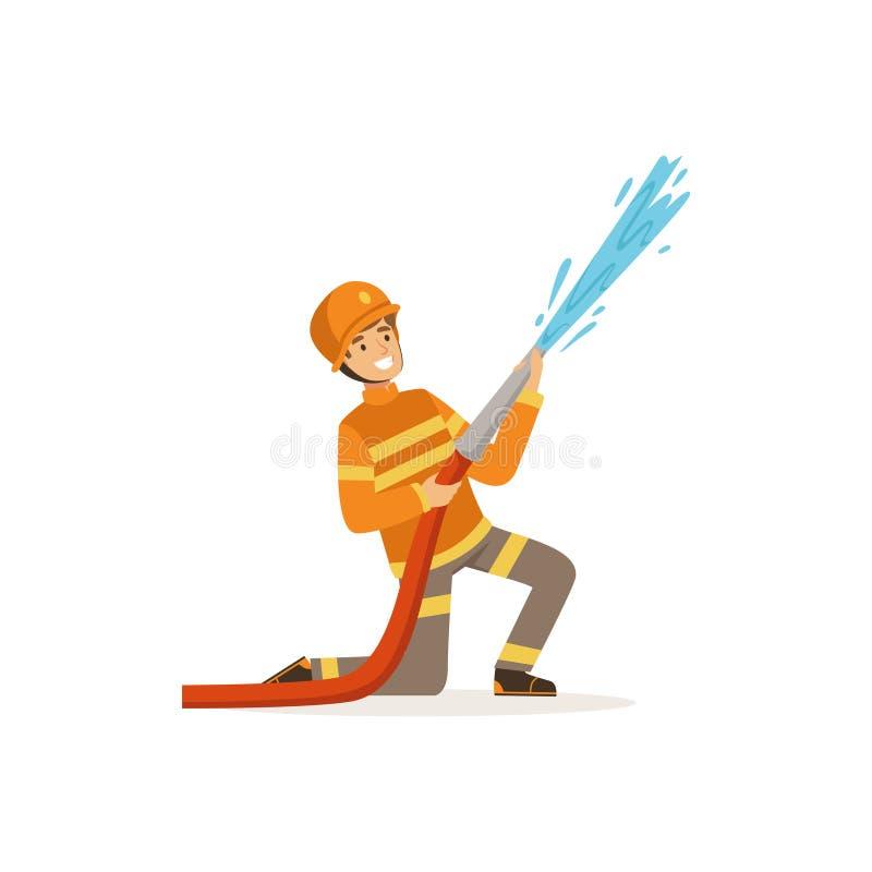 Χαρακτήρας πυροσβεστών στο ομοιόμορφο και προστατευτικό ψεκάζοντας νερό κρανών που χρησιμοποιεί τη μάνικα, πυροσβέστης στη διανυσ διανυσματική απεικόνιση