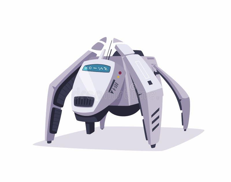 Χαρακτήρας ρομπότ η αλλοδαπή γάτα κινούμενων σχεδίων δραπετεύει το διάνυσμα στεγών απεικόνισης διανυσματική απεικόνιση