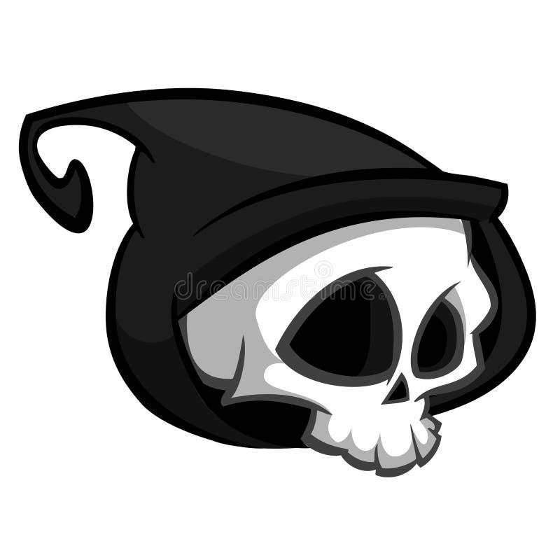 Χαρακτήρας σκελετών θανάτου κατάλληλος για αποκριές, το λογότυπο, τη θρησκεία και το σχέδιο δερματοστιξιών απεικόνιση αποθεμάτων